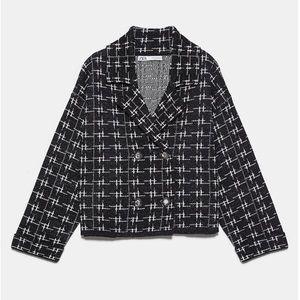 ZARA cropped metallic knit blazer jacket